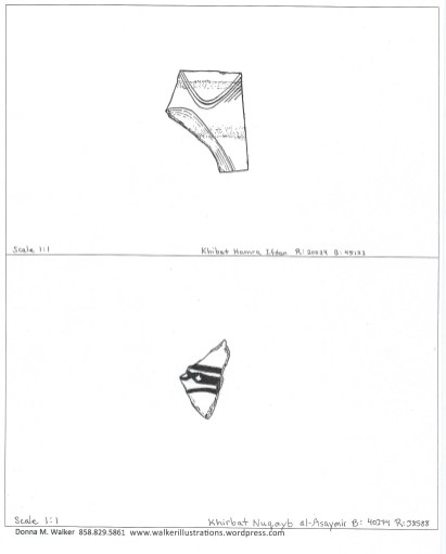 Ceramic sherd with designs are drawn as if the design is intact.