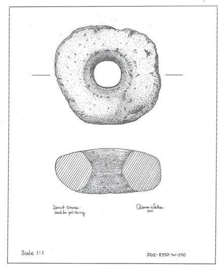 Donut Stone - wear zones indicate it may have been used for polishing.