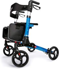 OasisSpace Ultra Folding Rollator Walker with Wide Seat 8 inches Antiskid Wheels Compact Design Baking Finish Walkers