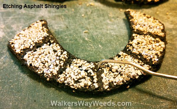 Etching carving asphalt shingles