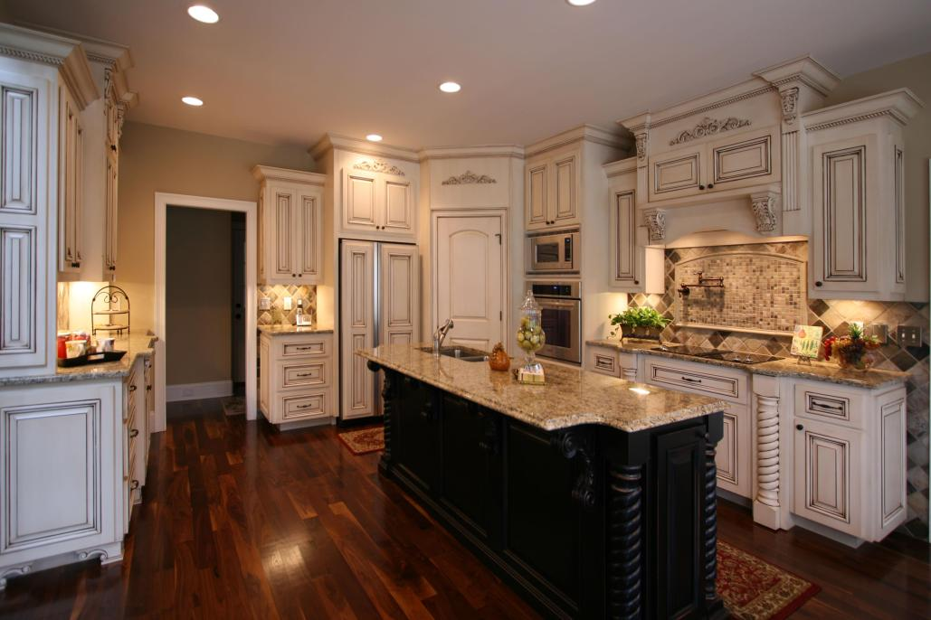 French Country style,kitchen,island,decorative details,paneled appliance,two toned cabinets