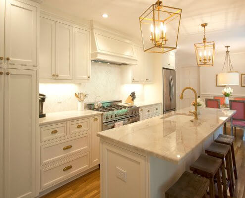 white cabinets, antique brass fixtures & hardware