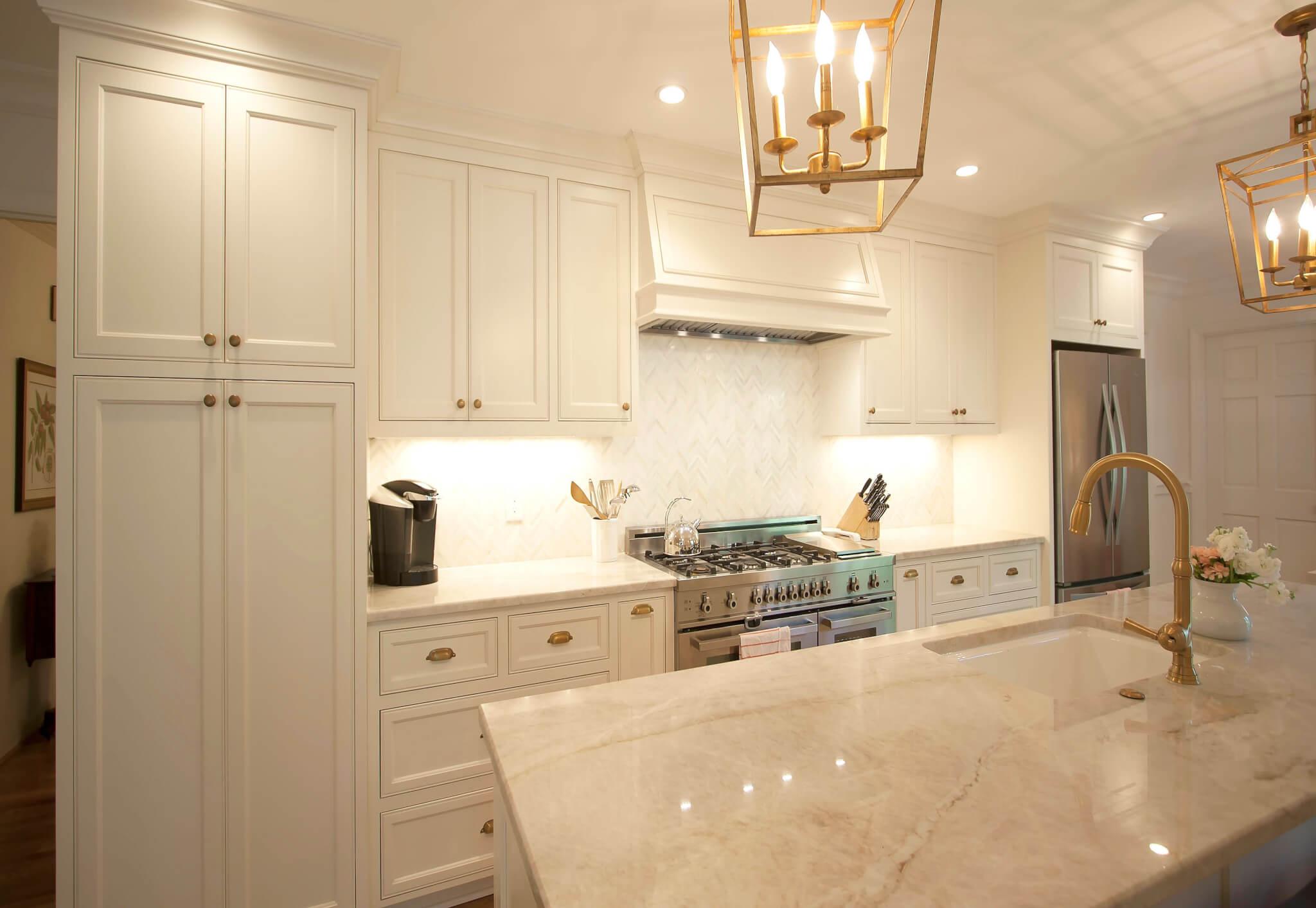 Strange White Flat Panel Custom Cabinets Antique Brass Lights Home Interior And Landscaping Spoatsignezvosmurscom