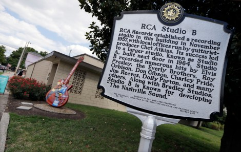 A historic marker stands outside in RCA Studio B on Aug. 8, 2014 in Nashville, Tenn. With development putting a squeeze on Nashville's famous Music Row, some in the music industry say it's time to preserve the district's character and the studios where the Music City's iconic sounds were born. (AP Photo/Mark Humphrey)