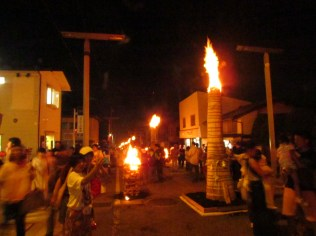 Torches along the street of Shrine Town