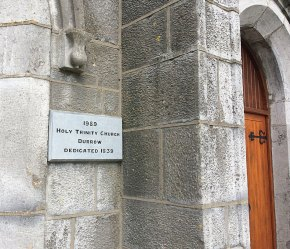 Plaque outside the Church of the Holy Trinity, Durrow, Co. Laois.