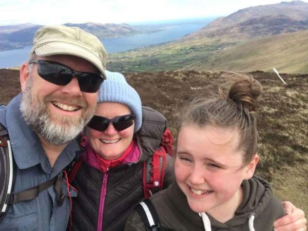 family hiking family selfie