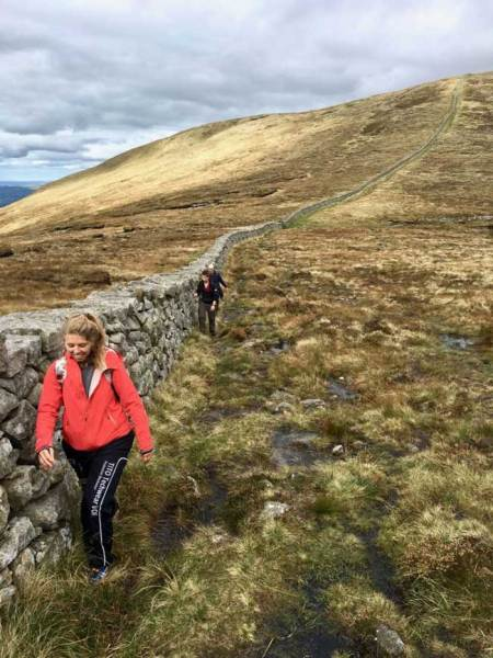 Hikers Mourne Wall Mourne Mountains Northern Ireland