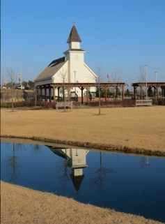 Chapel with reflection in a pond