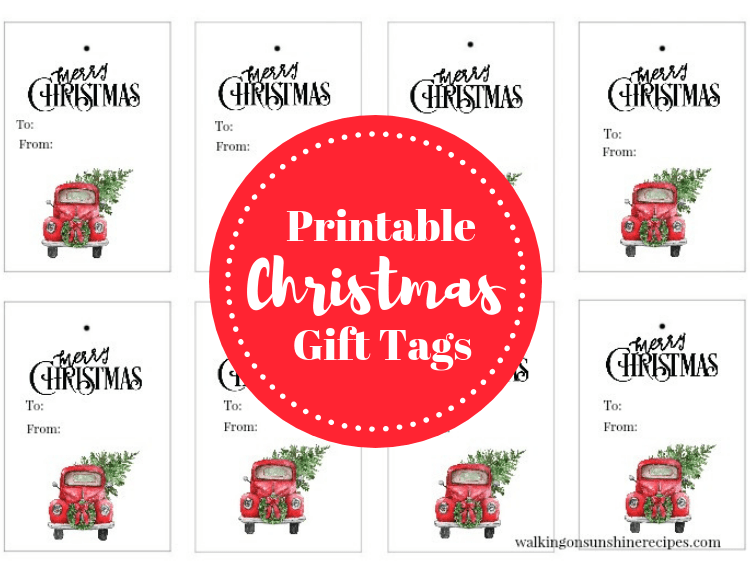 Red Truck Christmas Tree Gift Tags Free Printable