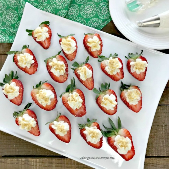 Cheesecake Stuffed Strawberries FEATURED photo from Walking on Sunshine Recipes