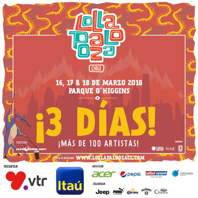 59be0e3ffbfb Lollapalooza Chile anuncia su Octava Edición y crece a Tres Días ...