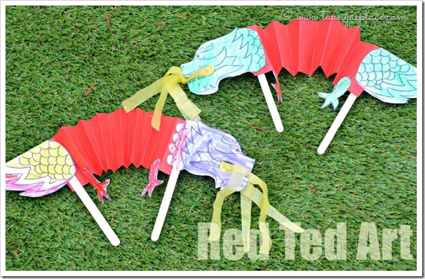 Chinese-New-Year-Crafts-for-Kids-Dragon-Puppets from Red Ted Art
