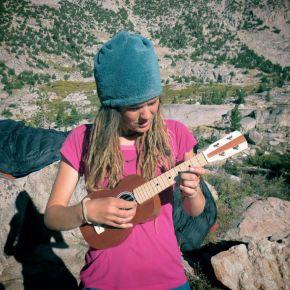 Playing my uke at Sallie Keyes Lake