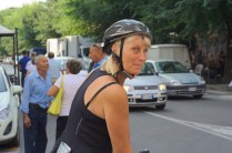 A cyclist from afar