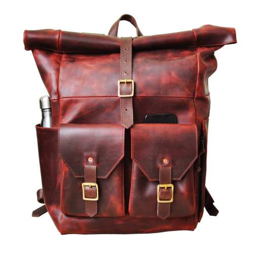 leather backpack roll top