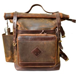 Walklo Leather Bear Roll Top Leather Adventure Backpack