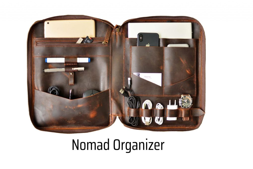 walklo leather nomad orgnizer for macbook ipad