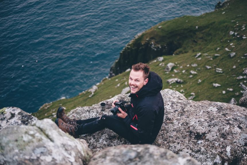 Isle of Skye Stu Happy with his spot at Neist Point