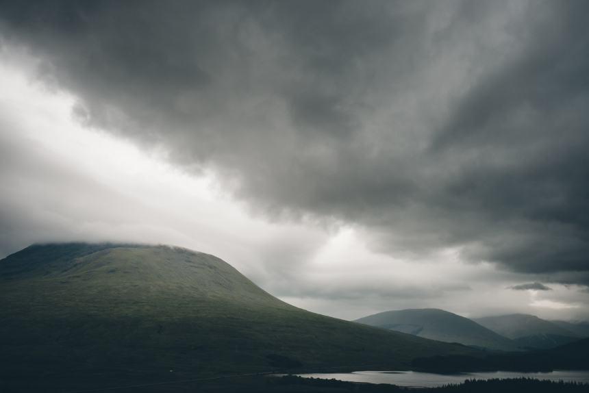 Scotland Glencoe Moody Sky Loch and Mountain