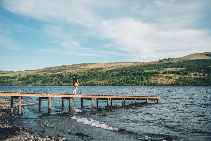 Scotland Loch Tay Jetty with Anna
