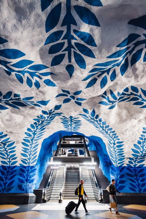 Stockholm T Centralen Metro Station Art Escalator