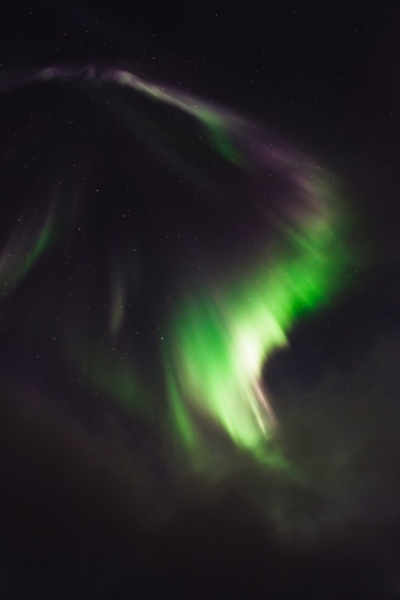Northern Lights Green White Purple Swoosh