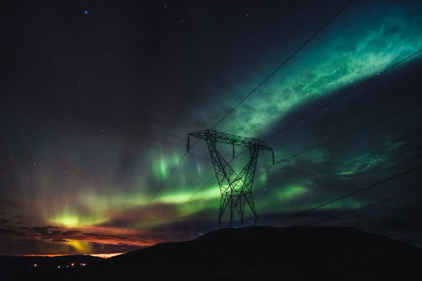 Northern Lights Iceland Powerlines Reykjavik