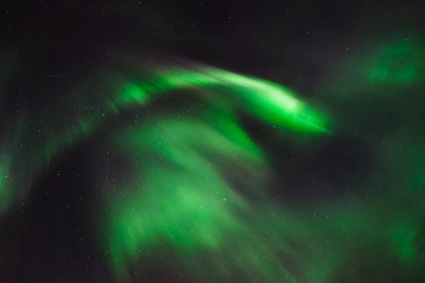 Northern Lights Iceland Vivid Green Pattern