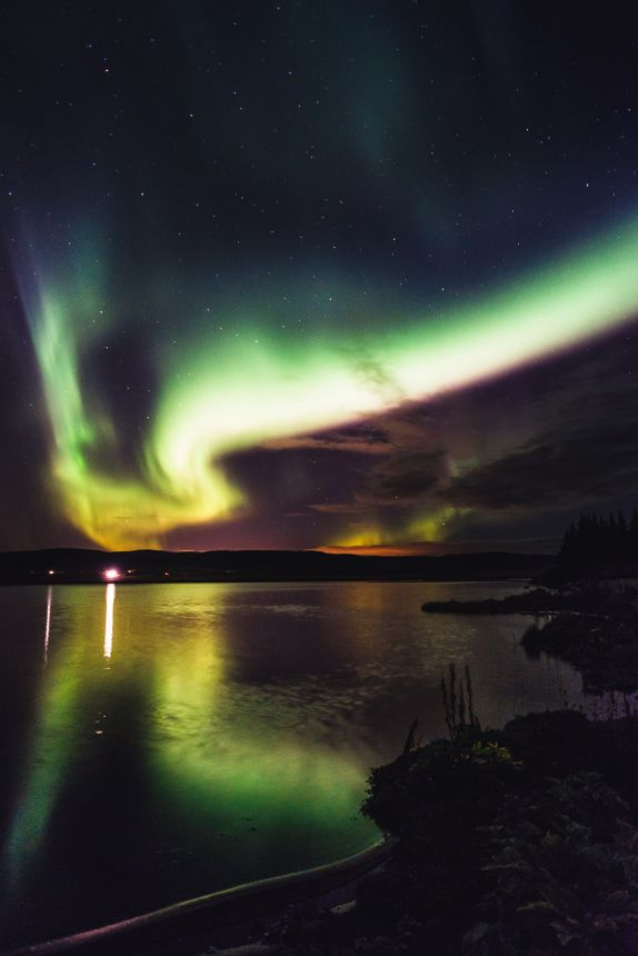 Northern Lights Strong KP Over Lake