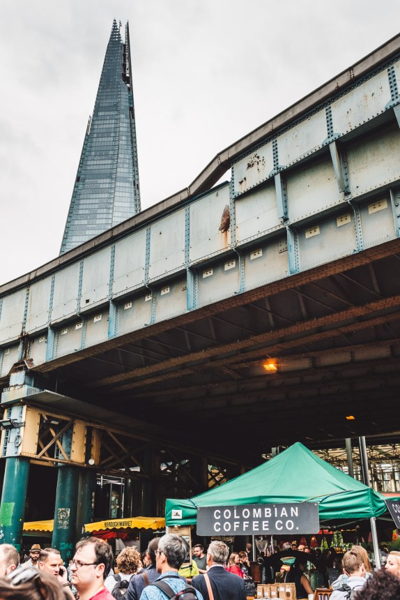 London Itinerary Borough Market Colombian Coffee Co with The Shard
