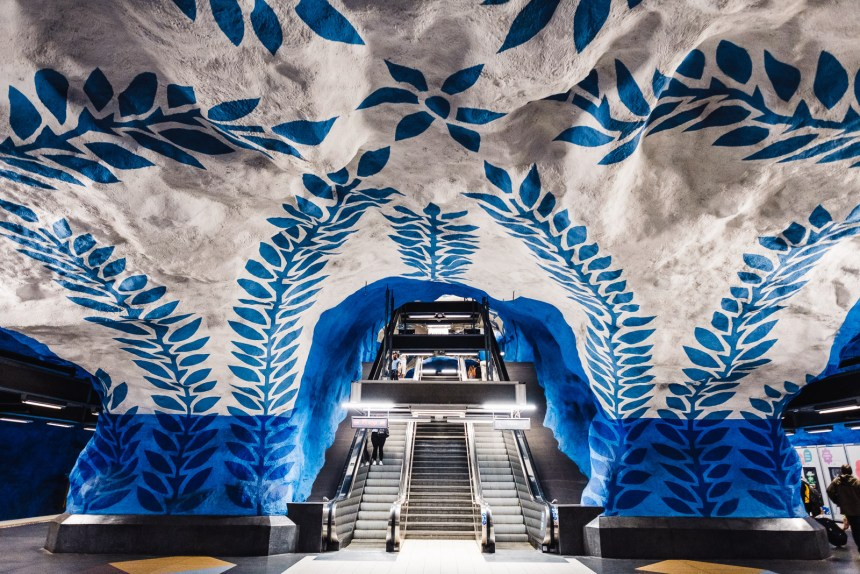 Stockholm T Centralen Subway Station Art Blue