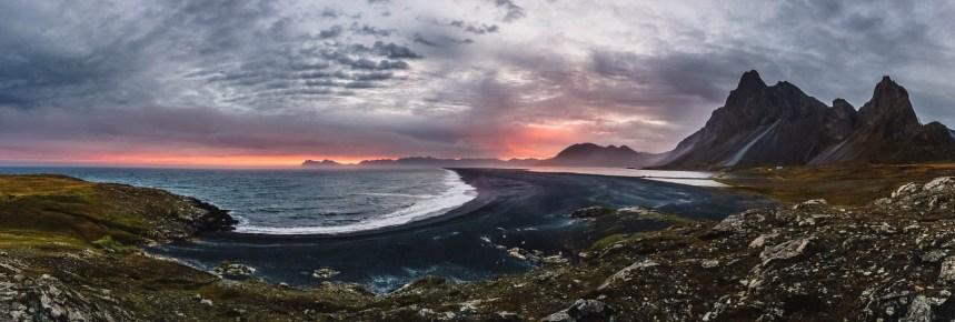 Iceland East Roadtrip Hvalnes Nature Reserve Sunset Panorama