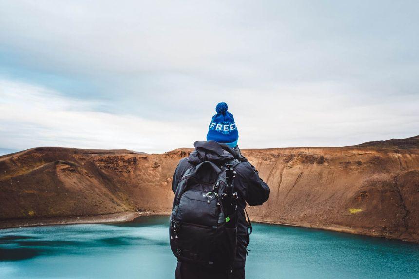 Iceland North Krafla Blue Lake Blue Beanie Landscape
