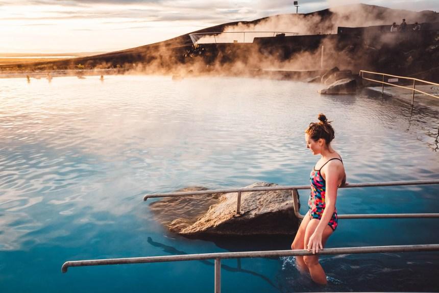 Iceland North Myvatn Sunset Baths Ramp Landscape