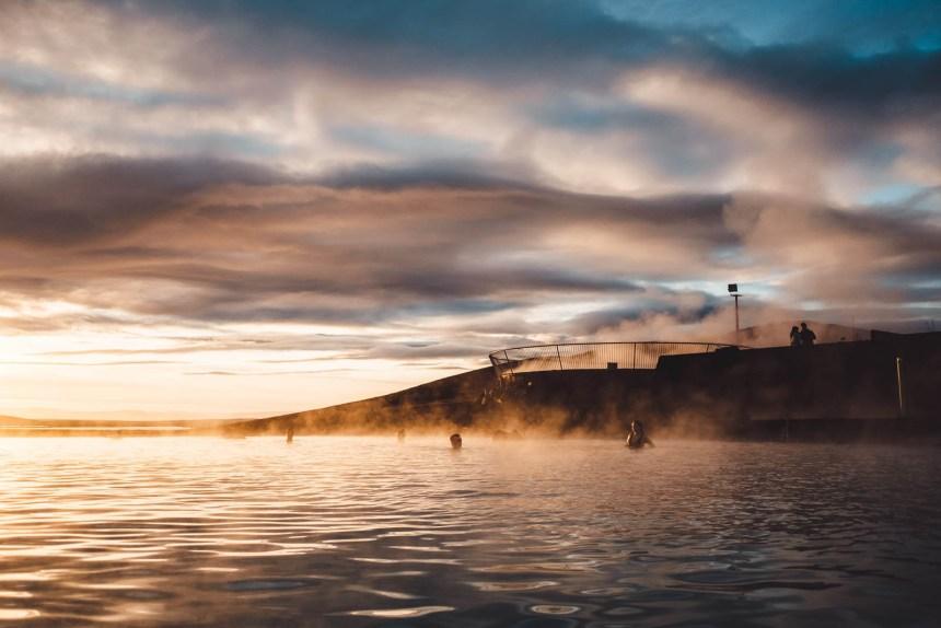 Iceland North Myvatn Sunset Baths Steamy Landscape