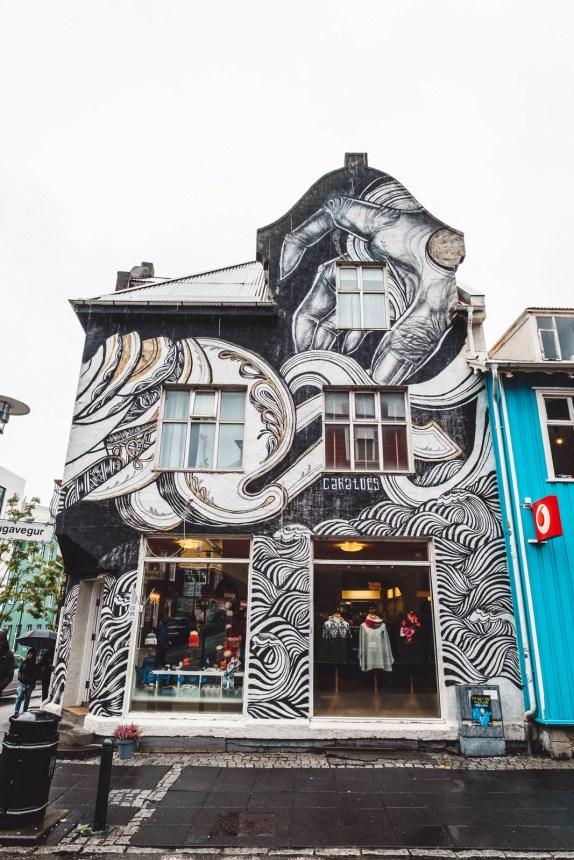 Iceland Reykjavik Shop Black White Mural