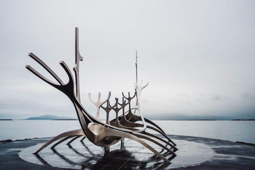 Iceland Reykjavik Sun Voyager Sculpture Side Angle 1
