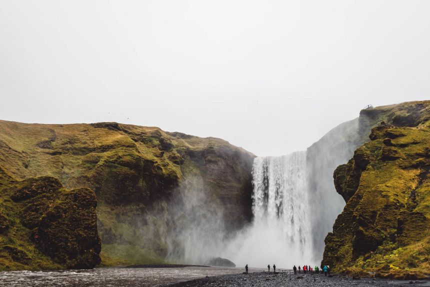 Iceland South Skogafoss Landscape Wide