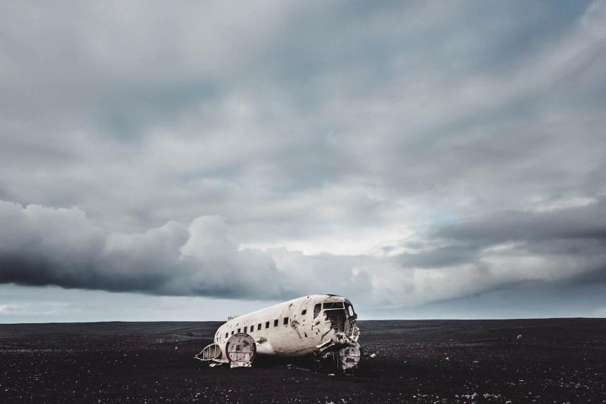 Iceland South Solheimasandur Black Beach Wide Epic Clouds
