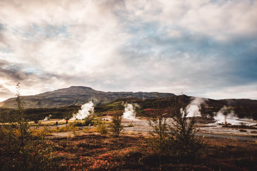 Iceland South West Strokkur Geyser Autumn Colours