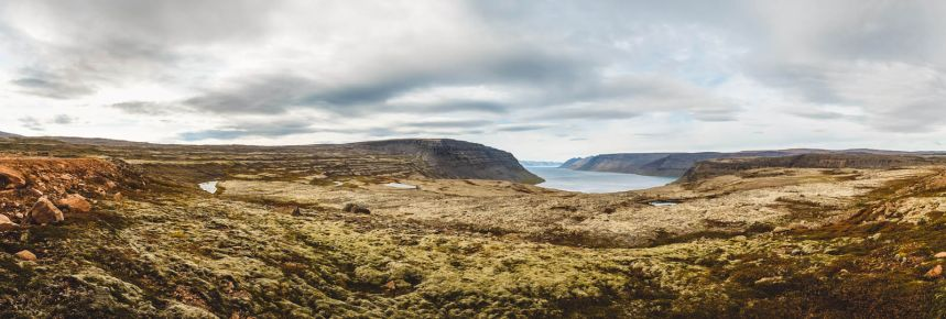 Iceland Westfjords Valley Viewpoint Panorama