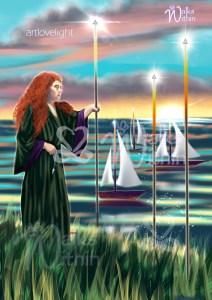 3 of Wands Tarot Card Walks Within ArtLoveLight