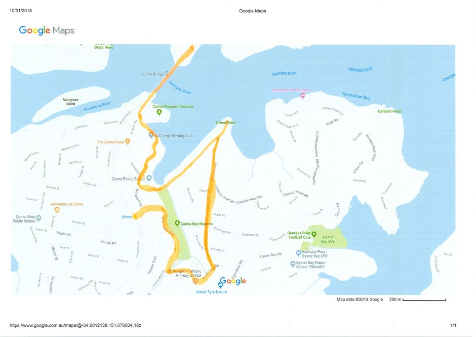 Map of walk to Green Point Reserve
