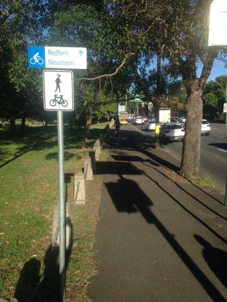 Share path sign on Moore Park Rd