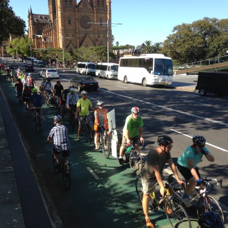 Protesting the removal of the College St cycleway