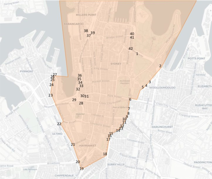 A proposed Sydney congestion charge cordon with detection points