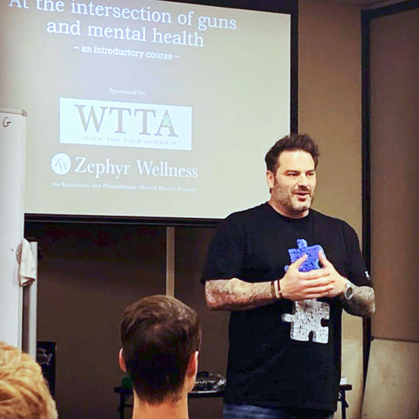 Founder of WTTA, Michael Sodini, giving a presentation to mental health professionals