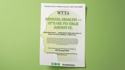 Photo of WTTA mental health awareness flyer
