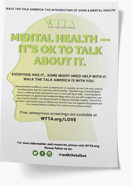 """Informational flyer with a green face silhouette and the headline """"Mental Health — It's ok to talk about it"""""""